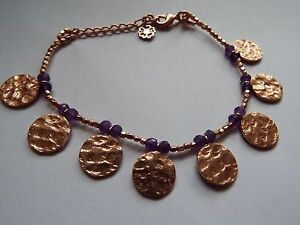 Azuni London 24ct Gold Plated Semi Precious Stone Bracelet Amethyst new
