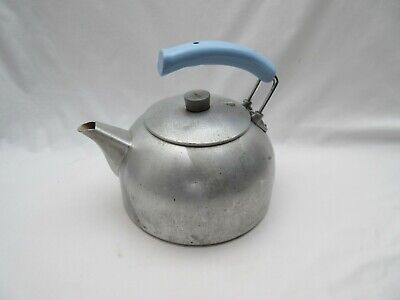 vintage well used Aga Agaluxe kettle '6' with pale blue handle