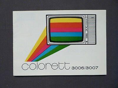 Bedienungsanleitung Farbfernsehgerät Colorett 3006/3007, RFT Stassfurt DDR 1980