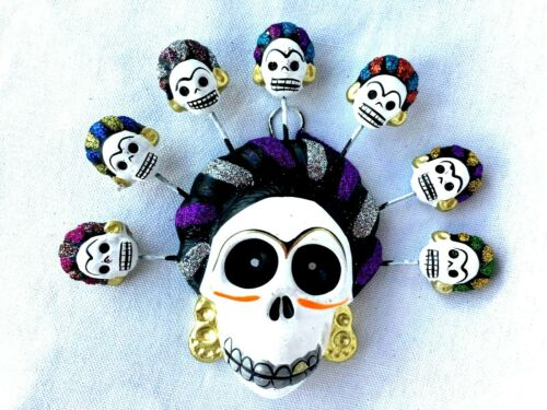 FRIDA KAHLO - DAY OF THE DEAD SKULL ORNAMENT WITH 7 FRIDA  SKULLS-  MEXICO