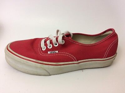 VANS Red White Canvas Womens 7 Med Lo Top Oxford Sneaker Skate Shoes Casual Walk Lo Oxford