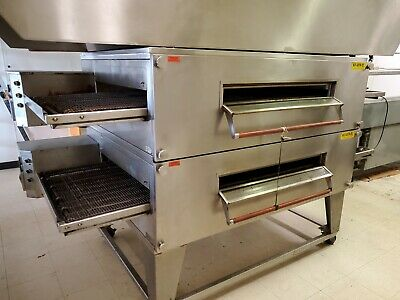 Xlt-3270-ts Double Deck Conveyor Pizza Ovens Nat Gas By Bofi Top Deck Has Split