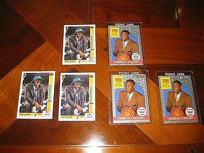 1991 Upper Deck Larry Johnson 1990 Hoops Derrick Coleman NBA Rookie Card RC Lot