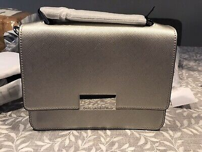 KARL LAGERFELD LEATHER CROSS BODY BAG BRAND NEW BEAUTIFUL IN SILVER RRP£225 !!