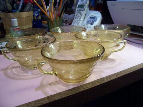 """Patrician Spoke amber 4 3/4"""" cream soup bowls (6)"""