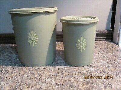 811 Avocado - 2 Vintage Avocado Green Tupperware Canisters # 807 & #811,  With Lids #808, #811
