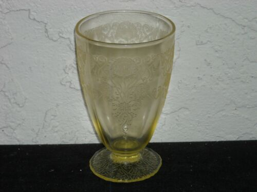 Florentine Poppy 1 Footed Water Tumbler  Yellow