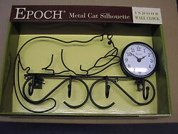 Wrought iron Cat lover Silhouette Wall Clock with coat hooks VERY NICE GIFT-NEW