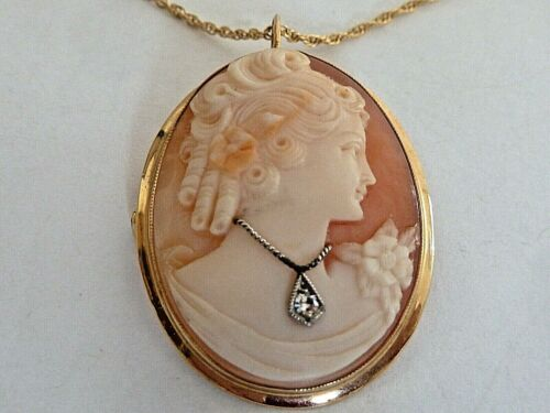 OVAL SHELL CAMEO & DIAMOND PENDANT/PIN 14K GOLD /W 14K GOLD CHAIN, IN BOX