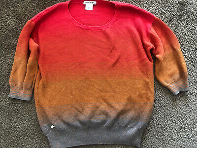 Lacoste Womens 38 Multicolor Ombre Half Sleeve Sweater  (US 8) B4