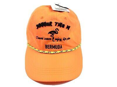 Zara Man Neon Orange Rope Hat Summer Time In Bermuda Adjustable Strap Cap