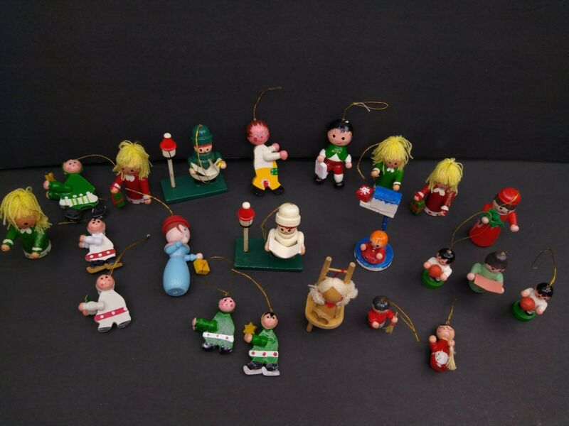 Vintage Small & Mini Wooden Christmas Ornaments Hand Painted Lot of 22 Children