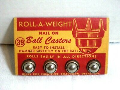 Vintage Furniture Ball Casters Roll-a-weight Nail On Ball Casters Nos Vgc