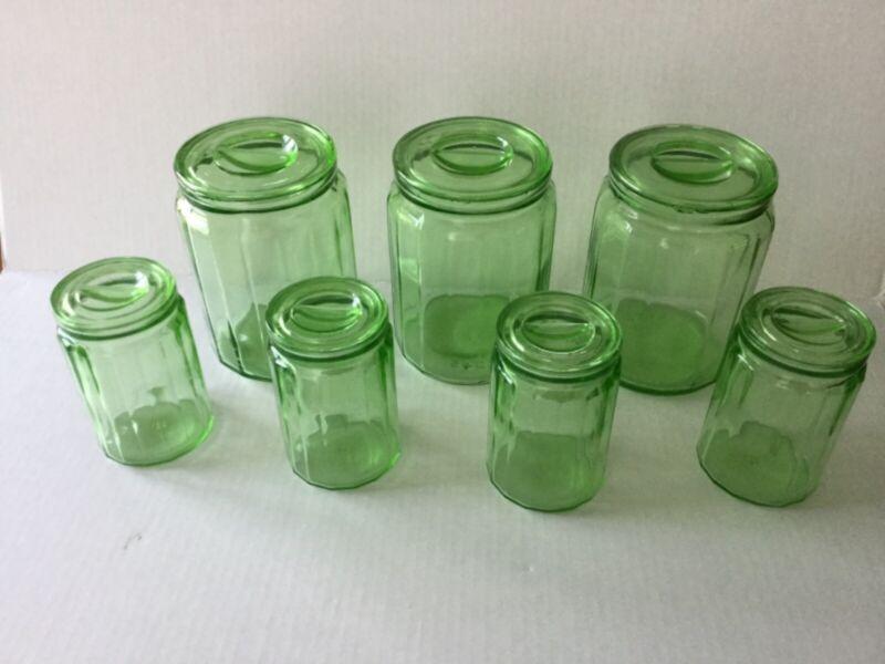 "Depression Glass Hazel Atlas Green Canister Set of Seven 3-6"" and 4 rare 4 1/2"""