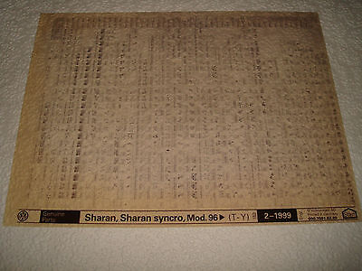 VOLKSWAGEN SHARAN, SHARAN SYNCRO MOD.96on PARTS MICROFICHE FULL SET OF 1 1999