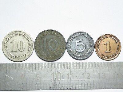 Deutsches Reich 1888 / 1908 10 u. 1 Pfennig // Reichspfennig 10 / 5 1941 / 1942