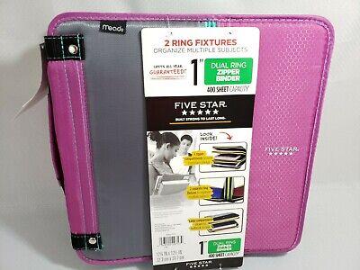 Five Star Dual Ring 1 Zipper Binder 400 Sheet Capacity Purple Grey Teal