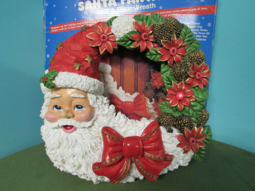 Christmas Santa Fantasy Wreath Door Decor Wall Decor Hanger Lights Up Voice