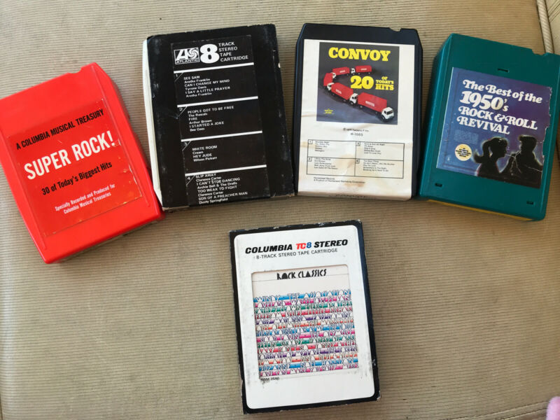 Lot (5) 8 Track Tapes - Various Artists Compilation Albums Best Of Rock Hits etc
