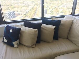 Cream Leather Sofa With Matching Cushions Sofas Gumtree Australia