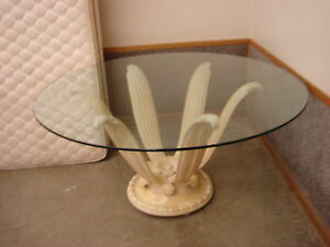 PICKLED PINE BASE 60 INCH GLASS TOP TABLE VINTAGE