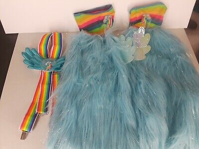Pony Play Costumes (My Little Pony Rainbow Dash Costume Suspenders Leg Warmers Dress-up)