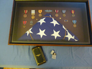 WWII Framed Medal Case with Flag, Bronze Star, Zippo Lighter