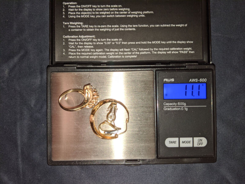 14K GOLD JEWELRY LOT SCRAP or WEARABLE MARKED/TESTED 11.1 GRAMS