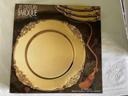 "Vintage Godinger 20th Century Baroque Brass Plated 12"" Charger NIB Set of 4"