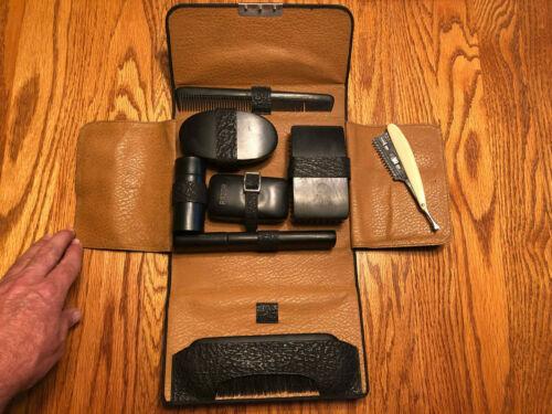 Vintage Mens Vanity Travel Grooming Toiletry Kit in Leather Case