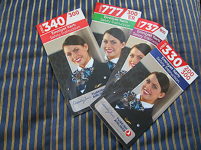 Turkish Airlines  4  Safety Card Set Airbus A 330  A340  B737 800  B777 300