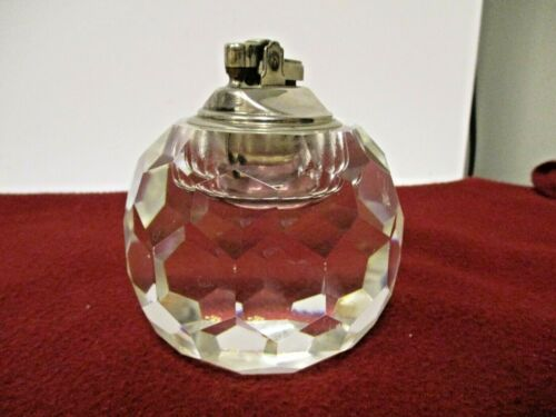 """Older Clear Faucted Japan tobacco Cigarette Lighter-Clear 3 1/2"""" Diameter"""