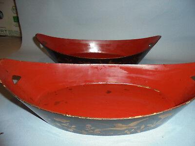 31021 Paar antike Lackschalen China Lackarbeit Asien laquer bowl