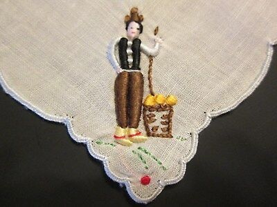 Cute! Vtg Madeira Hanky Hand Embroidered Peasant Folk Man Costume Portugal 9