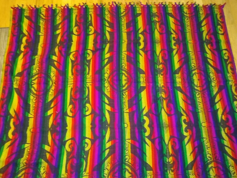 Guatemalan Throw Blanket Black Rainbow Variegated Stripes
