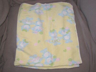VINTAGE BABY BLANKET YELLOW BLUE PUPPY DOG KITTY CAT FLOWER HEART COTTON FLANNEL