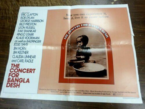 RARE ORIGINAL Concert for Bangladesh POSTER Eric Clapton George Harrison Live