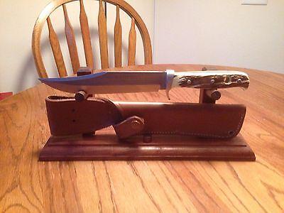 Solid Walnut Wood Knife and Sheath Display Stand
