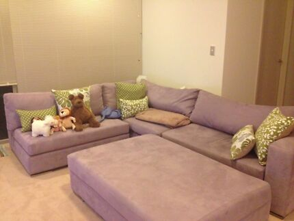 Almost new Lilac suede couch with Ottoman Mosman Mosman Area Preview