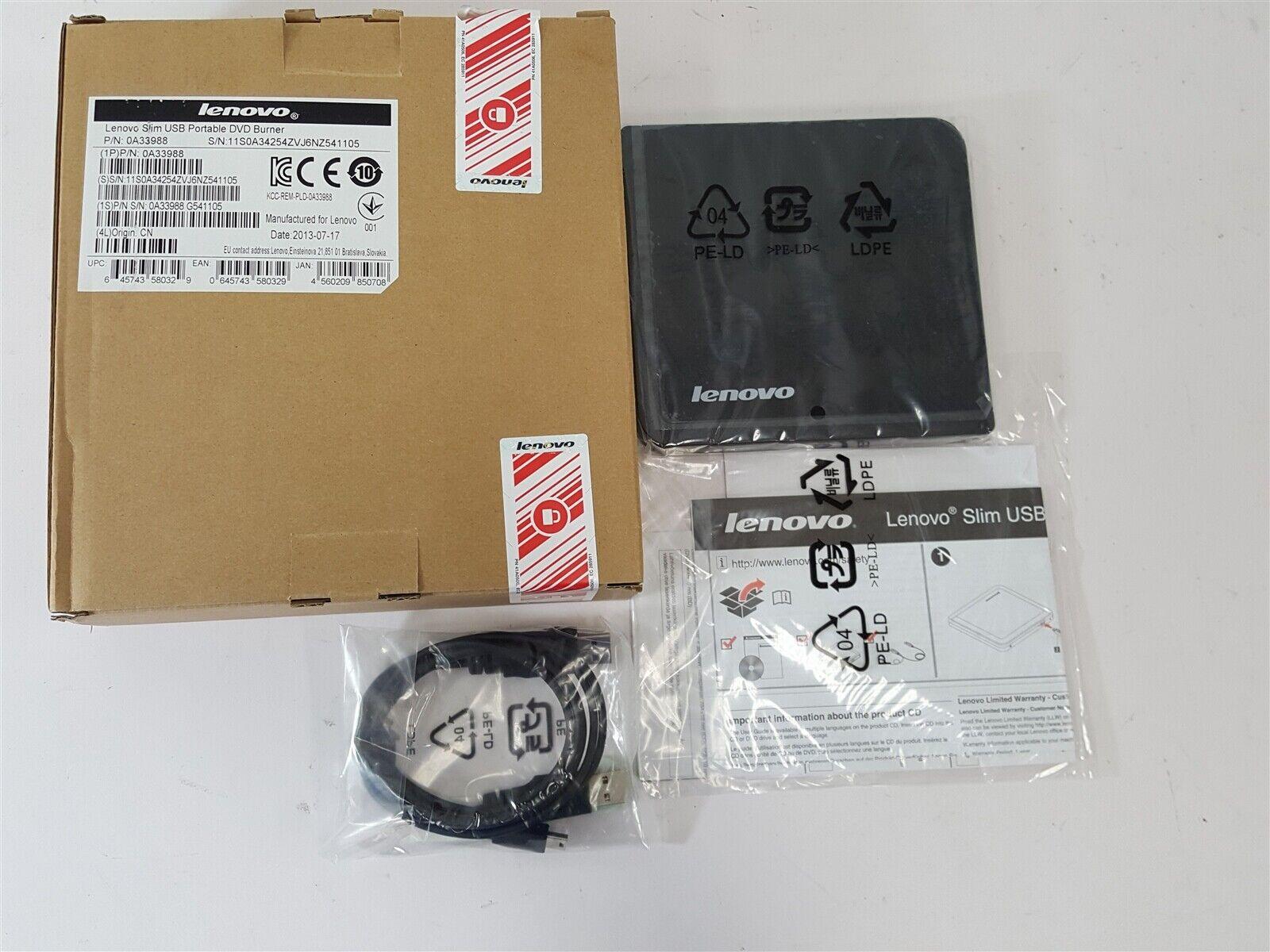 NEW Lenovo Slim USB2 Portable DVD Burner 0A33988 0A34254 03X