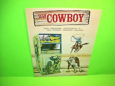 Sega 1974 COWBOY Original NOS Western Theme Lasso Throwing Arcade Game Flyer - Western Theme Games