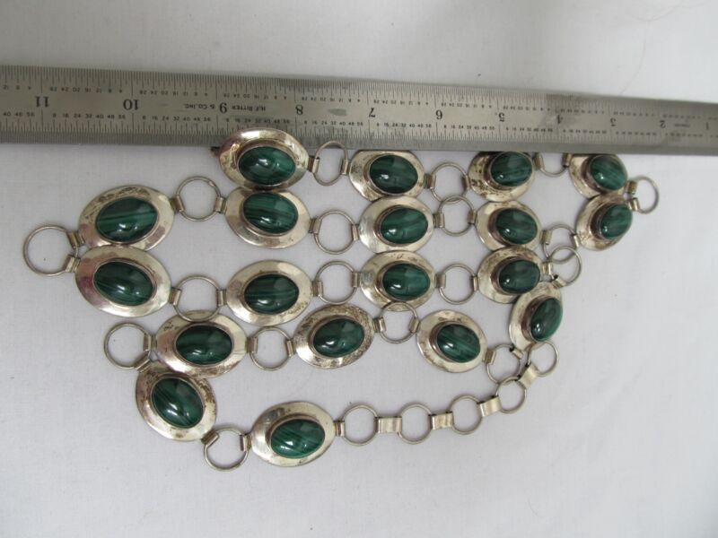 "Vintage Sterling Silver Malachite Belt  38"" marked P Sterling"
