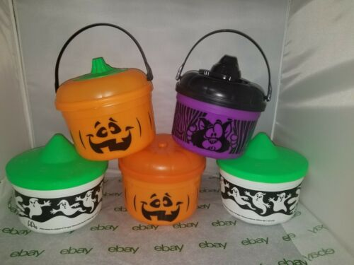 LOT 5 Vintage 1993 MCDONALDS Happy Meal HALLOWEEN Candy Buckets PUMPKIN Witch +