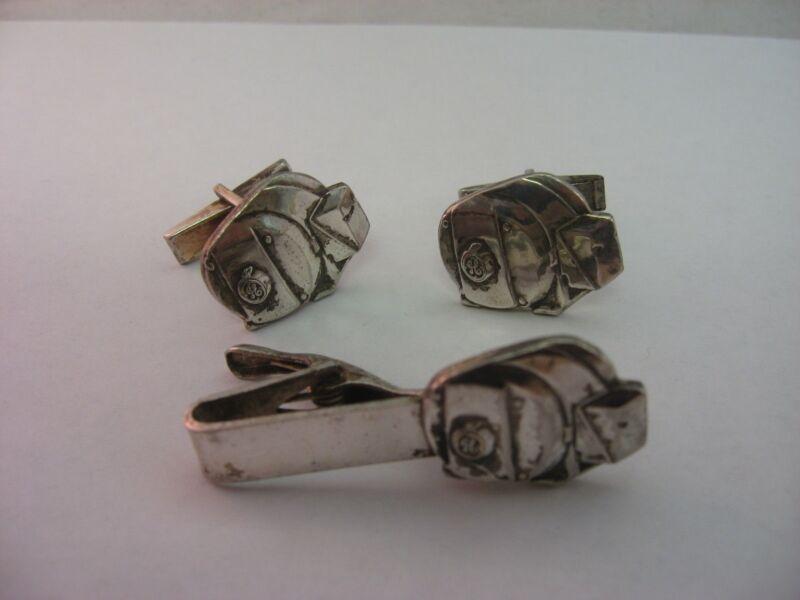 Great Vintage GE General Electric Generator Mens Jewelry Set Cufflinks Tie Bar