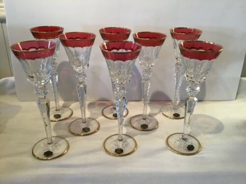 Set of 8 St Louis Cut Crystal Excellence Wine Glasses Cranberry & Clear W/Gold