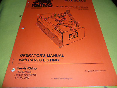 Drawer 13 Rhino Servis Box Blade 48 60 66 72 84 Parts Operators Manual