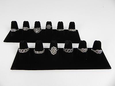 Two 6-finger Ring Display Black Velvet Jewelry Showcase Rings