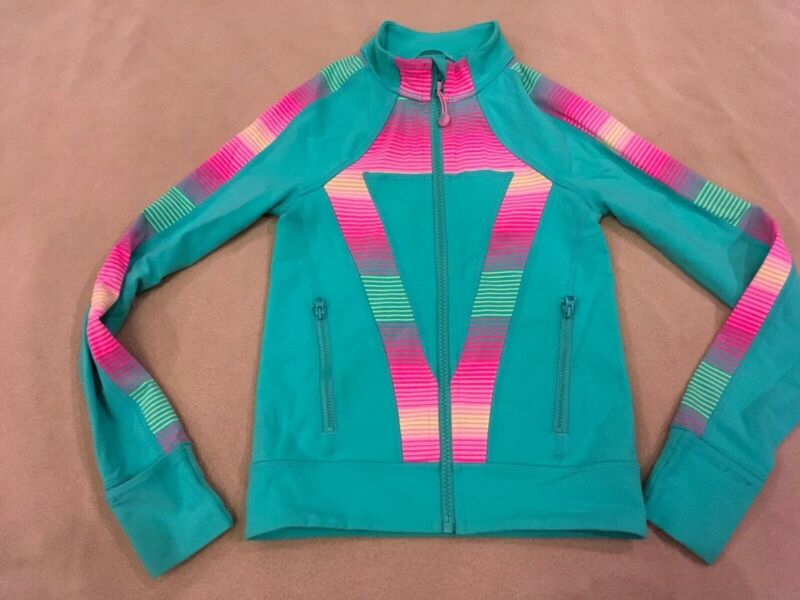 Ivivva 6 Girls By Lululemon Jacket Green Multi Full Zipper Athletic Dance