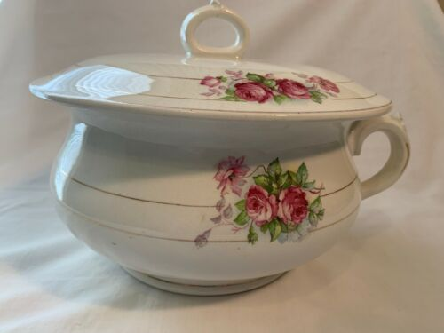 Vintage Mercer Semi Vitreous Pink Rose Chamber Pot with Lid