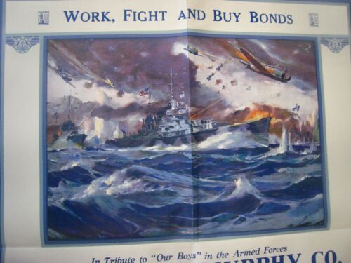 "WWII  "" THE PRICE OF VICTORY"" vintage ORIGINAL WAR BONDS POSTER"